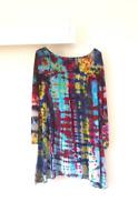 Plus Size Tie Dye Long Sleeve Festival Grunge Hippie Swing Dress Smock Tunic