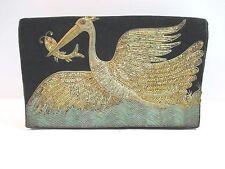 Vintage Black Evening Bag Purse Clutch Wire Embellished Handbag Stork