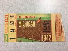 Michigan vs. Illinois 1942 Football Ticket Stub- RARE!