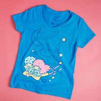 LITTLE TWIN STARS Women's V-Neck T-Shirt Sanrio Loot Wear Crate Hello Kitty NEW