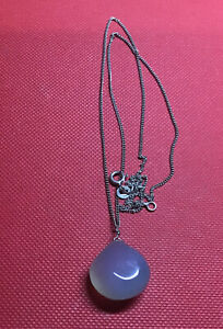 Vintage 925 Silver Grey Opaque Moonstone? Pendant On 18 Inch Chain