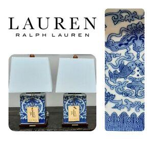 RALPH LAUREN 2 KOI Fish Table Lamps Blue Oriental Asian Porcelain Linen Shade