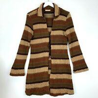 Forever 21 Womens L Brown Tan Stripe Cardigan Sweater Bell Sleeve Tie Front USA