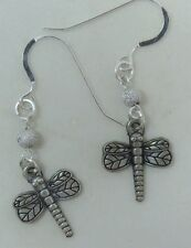 NWOT Unique Silver Color Dragonfly Dangle Earrings on Sterling Silver Earwires