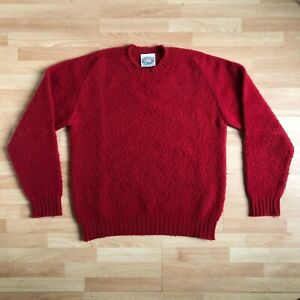 Jamieson's of Shetland Brushed Sweater Red Large Shaggy Knit Made in Scotland