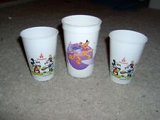 Disneyland Plastic Cups 1980's and 1990's 3 in Lot