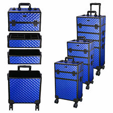 New listing 4 in1 Aluminum Rolling Makeup Train Case Wheel  Professional Cosmetic Box Stroge