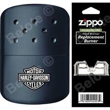 Zippo HARLEY DAVIDSON BLACK Hand Warmer + Pouch & Additional Burner 40319  44003