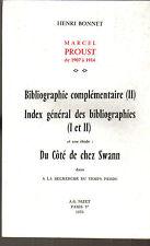 Henri Bonnet Marcel Proust 1907 a 1914   , nizet 1976 , non coupé
