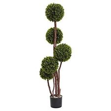 Nearly Natural 5428 Boxwood Topiary by 5 with 420 Leaves UV Resistant- 4-Feet