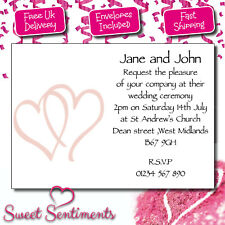 Personalised Wedding Invitations - Two Hearts (W10) A6 Postcard x10