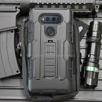 Armor Shockproof Hybrid Rubber Kickstand Phone Holster Case Cover For LG V20