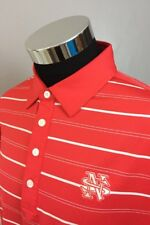 FootJoy Men's XL Athletic Fit Golf Polo Shirt Orange White Striped NS Logo (A75)