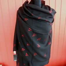 Large Black Scarf wrap pashmina with red metallic foil birds women's soft NWT