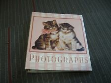 unused Hallmark photo album pink plaid w cats / kittens & clear plastic pages