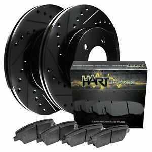 For 2006-2010 Hummer H3, H3T Rear Black Hart Brake Rotors+Ceramic Pads