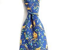 Burberry London Mens Necktie Blue Birds Monkey Jungle Parrot 100% Silk Tie Italy