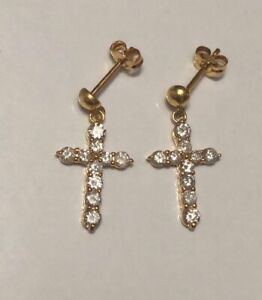 Earrings with Genuine Diamonds on 14K Yellow Gold- Cross Design