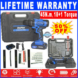 Cordless Electric Drill 2-Speed Driver Drill Driver Screwdriver Holder Bits Set