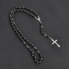 Holy Long Rosary Beads Cross In Silver Cross Tone Necklace For Women Men Girl #p