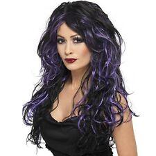 Damen Halloween Kostüm Gothik Braut Perücke schwarz/lila Neues von Smiffys