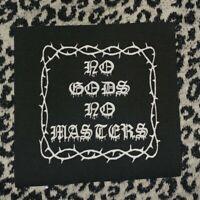 NO GODS NO MASTERS cloth patch GOTHIC WICCA OCCULT SATANIC SATANISM VOODOO 666