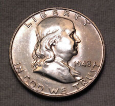 1948 50C Franklin Half Dollar with Full Bell Lines - Key Date