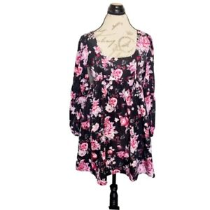 Forever 21 Womens Dress floral Size Small Long Sleeve Puff Short Babydoll Lined