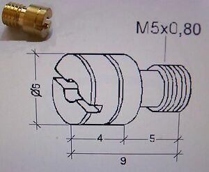 Brass Main Jets for Keihin carburettors - slotted - in a range of sizes