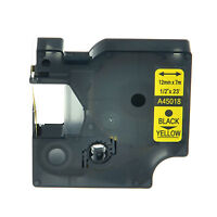 Black on Yellow Label Tape Compatible For Dymo D1 45018 LabelManager 150 160 200