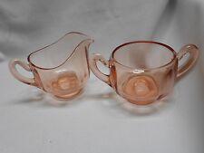 vintage pink depression elegant glass cream and sugar set