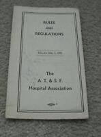 Vintage 1959 Booklet AT&SF Rules and Regulations Hospital Association