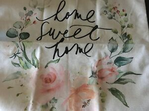 """Linen 17"""" square pillow cover painted HOME SWEET HOME roses zipper"""