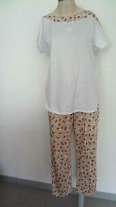 Louis Feraud Pyjama 3/4  weiß-braun Farbe Gr. 38
