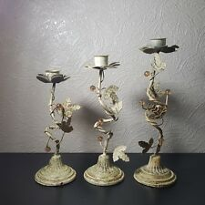 Set of 3 Vintage Rustic Metal/ Iron Graduated Twirling Candle Stick Holders
