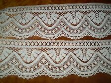 59''x  4.3 ''Beautiful- white - Vintage -Cotton-Crochet-Lace