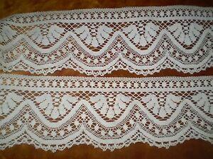59''x  4.3 ''Beautiful- white - Vintage -Cotton-Crochet-Lace strip