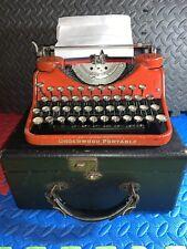 VINTAGE 1930's RED UNDERWOOD PORTABLE TYPEWRITER ANTIQUE TESTED WORKS W/ CASE