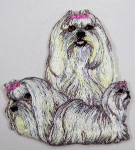 Maltese dog heat seal embroidered badge