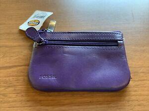 "FOSSIL Wallet/Change Purse ID Card Holder Purple Leather - 4 3/8 ""W X 3""T - Zip"