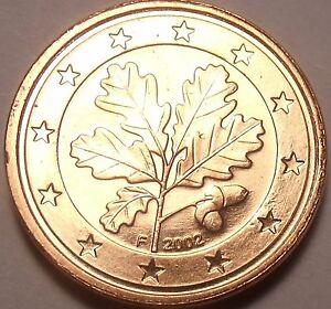 Gem UNC Allemagne 2002-F 1 Euro Cents ~ Chêne Feuilles
