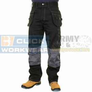 Mens Stretch Work Trouser with Cordura Knee Pad Pockets Workwear Pro Pants Black