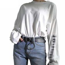 Women PU Leather Belt Waist Band Round Metal Circle Solid O Ring Belt Black LV