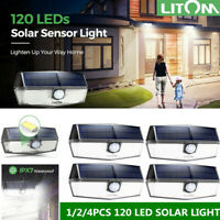 LITOM 120 LED Solar Power Light Motion Sensor Security Outdoor Garden Wall Lamp