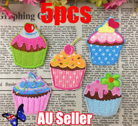5pcs/set 3D Handmad CUPCAKE CUP CAKE EMBROIDERED IRON SEW ON APPLIQUE PATCH DM