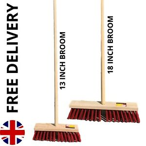 Outdoor Broom with Handle Garden Yard Sweeping Brush Stiff PVC Bristles & Handle