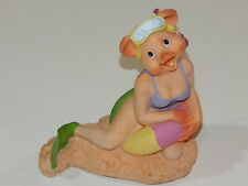 New Miss Piggy Bank Vintage Muppets Collectible Swimsuit On Beach Scene