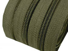 5m Endlos-Reißverschluss 5mm mit 10 Zipper dunkelgrün Versandkostenfrei
