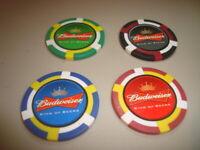 #4 BUDWEISER King Of Beers Logo design Poker Chips Golf Ball Marker-Card Guard