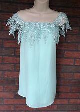 43b6fd59714 Tibi Tiffany Blue Off Shoulder Mini Dress Small Crochet Elastic Neck Lined  Tunic